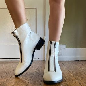 White Ankle Boots with Edgy Zipper Details